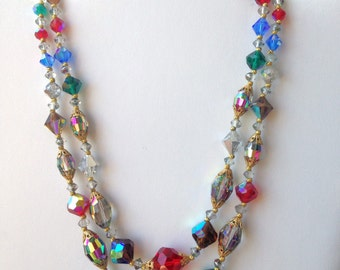 Crystal Necklace Faceted Crystals Red Crystals blue Crystals Green Crystals Aurora Borealis Vintage 50s