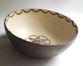 Doily bowl- Ceramic bowl- Large bowl- pottery bowl- Serving bowl - Salad bowl