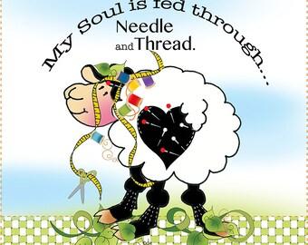 """AP6.10 - Soul Fed Sheep - 6"""" Fabric Art Panel"""
