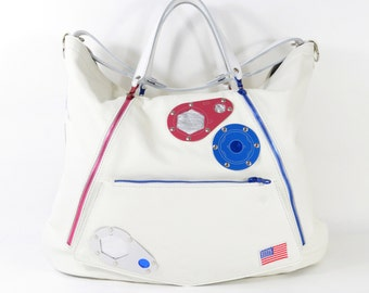 STS-54 Nasa White Leather Tote Bag With Detachable Clutch Handmade SC16