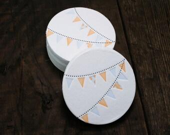 Set of 12 - Letterpress Printed Pennant Coasters (Blue + Orange)