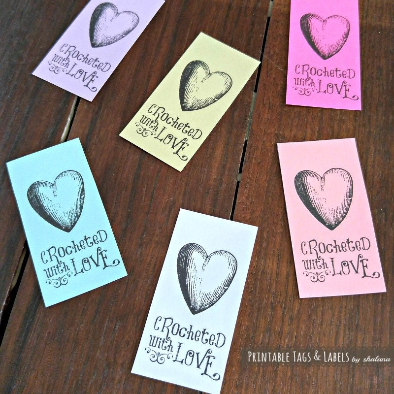 Printable PDF Tags Or Labels Crocheted With Love Heart