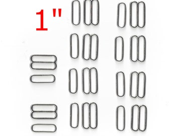 "20 Sets - 1"" - ZINC Slide and Split Oval Loops, Nickel Plate"