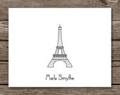 Eiffel Tower Note Cards - Notecards - Paris - France - French - Stationery - Stationary - Thank You - Personalized - Set of 8