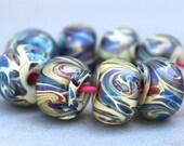 Boro Beads - Borosilicate Lampwork Beaads - Tan, Blue and Purple Swirl