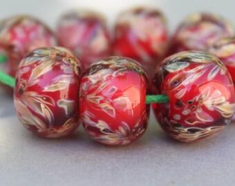 Red & Multicolor Zig Zag Boro Beads