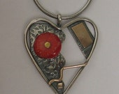 Coral Heart Sterling Goldfilled Necklace