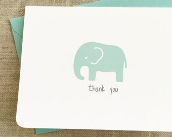 set of 16 baby elephant baby shower thank you cards, pool baby elephant baby shower thank you card, quantity discount elephant baby shower