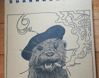 Otter Talking Philosphy Notebook Letterpress Printed Cover Original Illustration