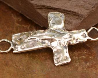 Artisan Sideways Cross Link in Sterling Silver