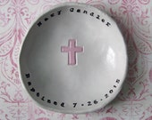 Personalized Baptism Gift: Cross Bowl, for boy or girl, Personalized Christening