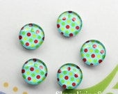20% OFF SALE - 18mm Glass Cabochon, 8mm 12mm 10mm 14mm 16mm 20mm 25mm 30mm Colored Polka Dots Floral Photo glass dome -- BCH257F