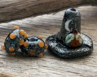 WITCHY - Handmade Crusty Lampwork Witch Hat and Coordinating Earring Pair - 3 Beads