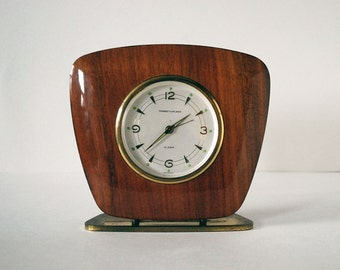 Vintage Phinney Walker Maple Desk Clock Brown Wood Semca German Mid Century Modern MCM Brass Retro Decor Desk Accessories Man Cave