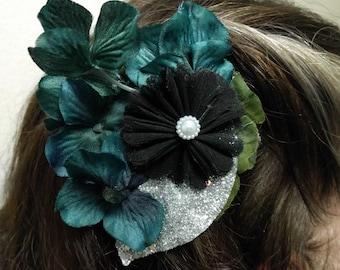 NIGHT TIME GARDEN - Black and Dark Green Floral Hair Fascinator