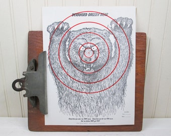"Vintage Paper Shooting Target Deranged Grizzly Bear 8.5"" x 11"" Animal Illustration"