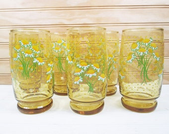 Vintage Drinking Glasses Set Hildi Daisies Daisy Flower Amber Glass Floral Lot