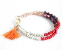 Orange Tassel Bohemian Bracelet, Tassel Bracelet, Tassel Jewelry, Beaded Bracelet, Beaded Friendship Bracelet, Boho Jewelry, Tassel Charm,