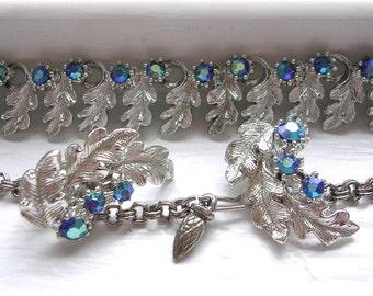 Vintage Rhinestone Leaf Necklace Earrings Set Demi Parure Choker Clip on Blue AB Aurora Borealis Silver Blue Necklace Retro Jewelry