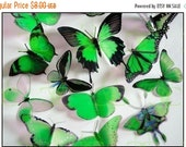 NEW YEAR SALE 3D Butterflies - 6 x Green for Weddings, Cake Toppers, Crafts, Wall Art, Nurseries and  Scrapbooking