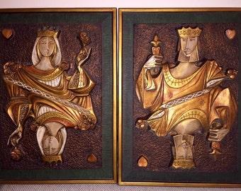 Mid Century Modern King & Queen imof Hearts Wall Art 1960s J Segura fiberglass