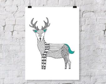 Doodle Deer – Nursery Art Print