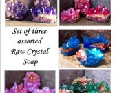 Crystal soap rocks, Soap gift set of three assorted raw crystal soaps