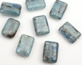 Small rectangular kyanite beads, flat smooth blue silver semiprecious stone 12mm, 8 pcs