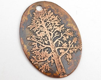 Copper tree pendant, flat metal copper oval etched design charm, 31mm