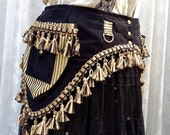 Black tribal fusion pocket belt - black and gold pocket belt with tassels - goth dark bellydance belt - Burning Man utility belt - Medium