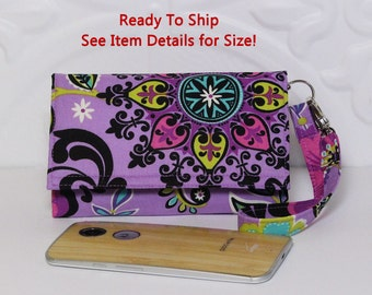 Cell Phone Wallet Wristlet, Ready To Ship, Lg G4, Droid Maxx 2, Droid Turbo 2 Wallet Case, SmartPhone Wallet 1X / Purple Pinwheel Floral