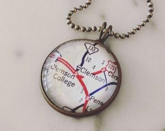Clemson Map Necklace - Custom Handmade Pendant - Charm Jewelry - Wanderlust - Travel - School Spirit - South Carolina - Clemson Tigers