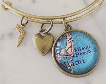 Miami Beach Map Charm Bangle Bracelet - Personalized Map Jewelry - Stacked Bangle - Wanderlust - Travel - Florida - Vacation - South Beach