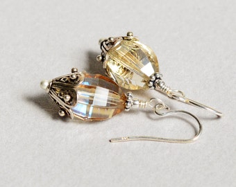 Citrine Crystal Earrings - Citrine Crystal - Citrine Stone - Sterling Silver Earrings