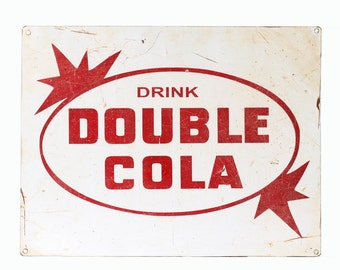 Vintage Double Cola Sign, Retro Advertisement