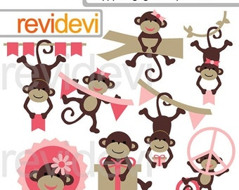 30% OFF SALE Happy Hanging Monkeys Cliparts 07543.. Instant download
