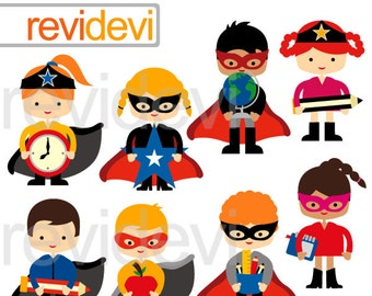 Superhero back to school clipart / superhero digital clipart with school supplies graphics