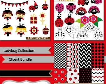 Ladybug clipart / Ladybug collection clip art bundle / digital papers / red pink ladybug graphics / commercial use
