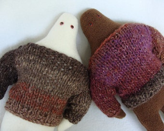 Yeti and Bigfoot Cozy Pals pair of plushies in hand knit wool sweaters sasquatch cryptozoology