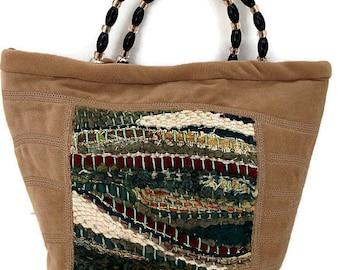 Women's Handmade Handbag , Fiber Art Handbag , Tan Purse , Textile Art , Fabric Purses