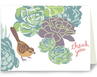 Thank You Succulents and Towhee - Box of 8 cards