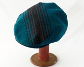 Driver's Cap in Turquoise Wool with Chocolate Brown Stripes - Mens Hat, Womens Hat, Winter Hat, Newsboy, Flat Cap, Winter Style, Blue Wool