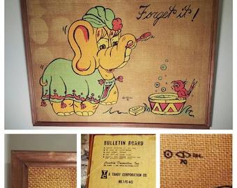 Vintage 1970 Elephant Forget it!  Burlap Bulletin Board