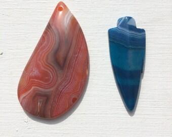 Agate pendant beads - Blue arrow and Orange teardrop
