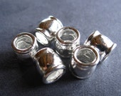 SLIDER beads large holed in solid sterling silver  4 beads   - 6mm X 7mm - 4mm hole