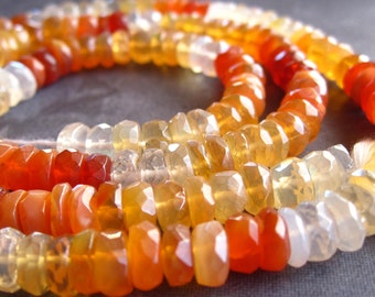 AAA Mexican Fire Opal faceted 6mm rondelles semiprecious stones - shaded - 6 1/4 inches - natural and genuine beads