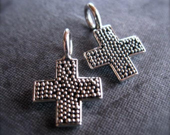 Solid Sterling Silver Cross Charms - Oxidized and Polished - dotted texture