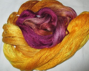 Hand dyed Tencel Yarn - 900 yds. Lace Wt. Tencel Yarn  GLITTER