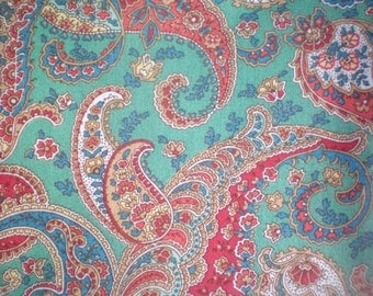 Paisley Print Fabric Red Green Tan Paisley Fabrics Paisley Material Seafoam Paisley Fabrics  - Cotton Fat Quarter Quilting or Craft Remnant