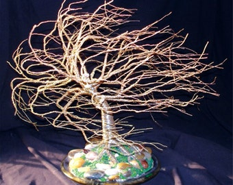 WIND SWEPT on STONES - Wire Tree Sculpture